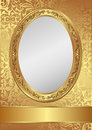 Golden background vintage decorativel frame Royalty Free Stock Photography