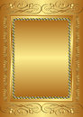 Golden background with vintage frame Stock Photo