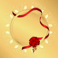 Golden background with yellow circular ornament, round tag and red ribbon with a bow. Royalty Free Stock Photo