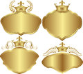Golden backgrounds set of with crowns Royalty Free Stock Image