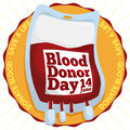 Golden Badge and Blood Bag for World Blood Donor Day, Vector Illustration