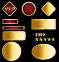 Golden badges and medals Royalty Free Stock Image