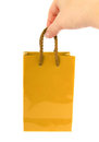 Golden bag with hand Stock Photos
