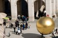 The golden ball with a man on top in Salzburg Royalty Free Stock Photo