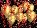 Golden balloon with ribbons Royalty Free Stock Photography