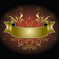 Golden banner with flourishes Royalty Free Stock Images