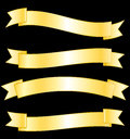 Golden banners collection commercial ribbons set Stock Images