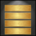 Golden banners four on striped black background Royalty Free Stock Photo