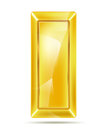 Golden bar with reflections on white Stock Image