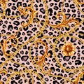 stock image of  Golden baroque chain glamour leopard seamless pattern. Watercolor hand drawn fashion gold and animal texture