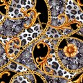 Golden baroque chain glamour leopard seamless pattern. Watercolor hand drawn fashion gold and animal texture