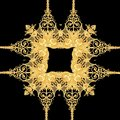 Golden baroque gold and black white color scarf pattern
