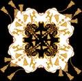 Golden baroque in ornament elements vintage gold rope scarf design