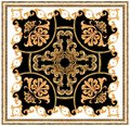 golden baroque ornament white black background scarf pattern