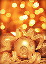 Golden baubles Christmas tree ornament Stock Photos