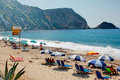 A golden beach in kefalonia island in greece Royalty Free Stock Images
