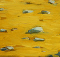 Golden beach sand on sea coast painting by oil canvas illustration Stock Images