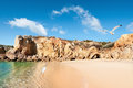 Golden beaches of albufeira portugal and sandstone cliffs near Royalty Free Stock Image
