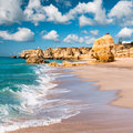 Golden beaches of albufeira and sandstone cliffs near portugal Royalty Free Stock Image