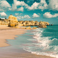 Golden beaches of albufeira and sandstone cliffs near portugal tinted image Royalty Free Stock Photos