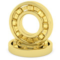 Golden bearings on white background high resolution d image rendered with soft shadows Royalty Free Stock Images