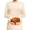 Golden berries dried inca berry ground cherry superfoods woman showing also called cherries heap of organic healthy super Royalty Free Stock Images