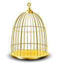 Golden bird cage empty on white Stock Photos