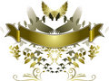 Golden Birds Banner Royalty Free Stock Image