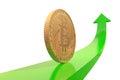 Golden bitcoin coin on green arrow upward