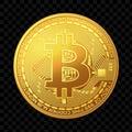 Golden bitcoin coin isolated on dark background. Vector illustration