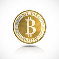 Golden bitcoin d illustration on white background Stock Photography