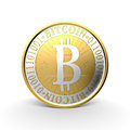 Golden bitcoin d illustration on white background Royalty Free Stock Photography