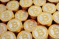 Golden bitcoins bitcoin rendered with blender d Royalty Free Stock Photo