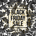 Golden Black Friday sale lettering background. Template for your design, invitation, flyer, card, gift, voucher