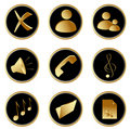 Golden black round web buttons set 1 Stock Photos