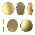 Golden blank coins isolated on white with clipping path Royalty Free Stock Photos