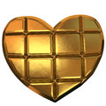 Golden blocks in heart shape isolated on white background Stock Photo