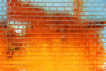 Golden-blue grunge brick wall background Stock Photography