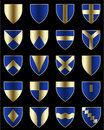 Golden blue shields Royalty Free Stock Photos