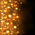 Golden blurry hearts background with shiny and stars illustration Stock Photo
