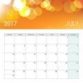 Golden bokeh july 2017 calendar
