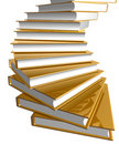 Golden book stairs Stock Photo
