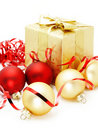 Golden box with christmas baubles Royalty Free Stock Photo