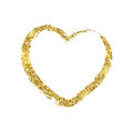 Golden brushstroke in the form of heart. Glitter shiny texture. Royalty Free Stock Photo