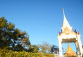 Golden budda statue with blue sky background loei thailand Stock Photo