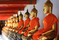 Golden buddha ancient buddhas statues in the temple thailand Royalty Free Stock Photo