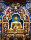 Golden buddha a large gilded deity of gautama Royalty Free Stock Images