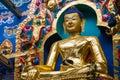 Golden buddha a large gilded deity of gautama Stock Images