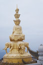 The golden buddha of mt emei on summit top mount in sichuan china Royalty Free Stock Image