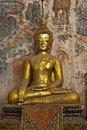 Golden buddha and mural painting, Laos Stock Images